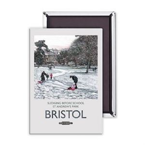 Bristol Sledging Before School steel fridge magnet (se)